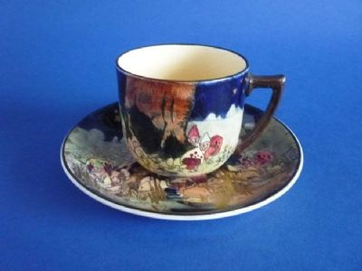 Royal Doulton 'Gnomes B' or 'Munchkins' Harlech Cup and Saucer D4697 c1930